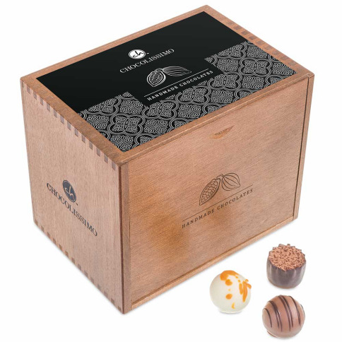 hand made pralines in a wooden box