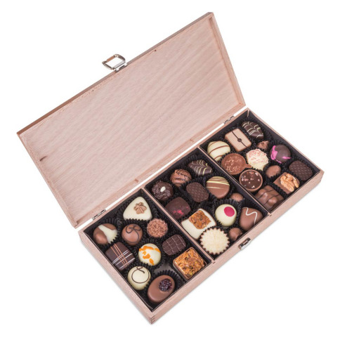 wooden box with handmade chocolates