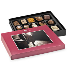 postcard with chocolates, box of chocolates with a picture