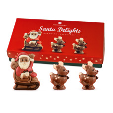 delicious chocolate figurines of Santa and his two reindeers